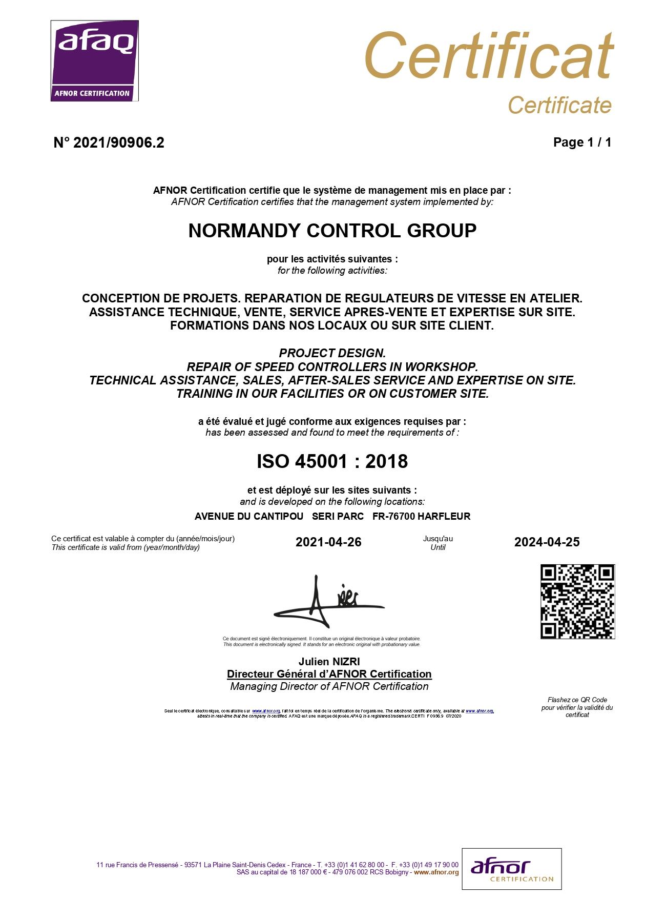 ISO 45001 AFNOR