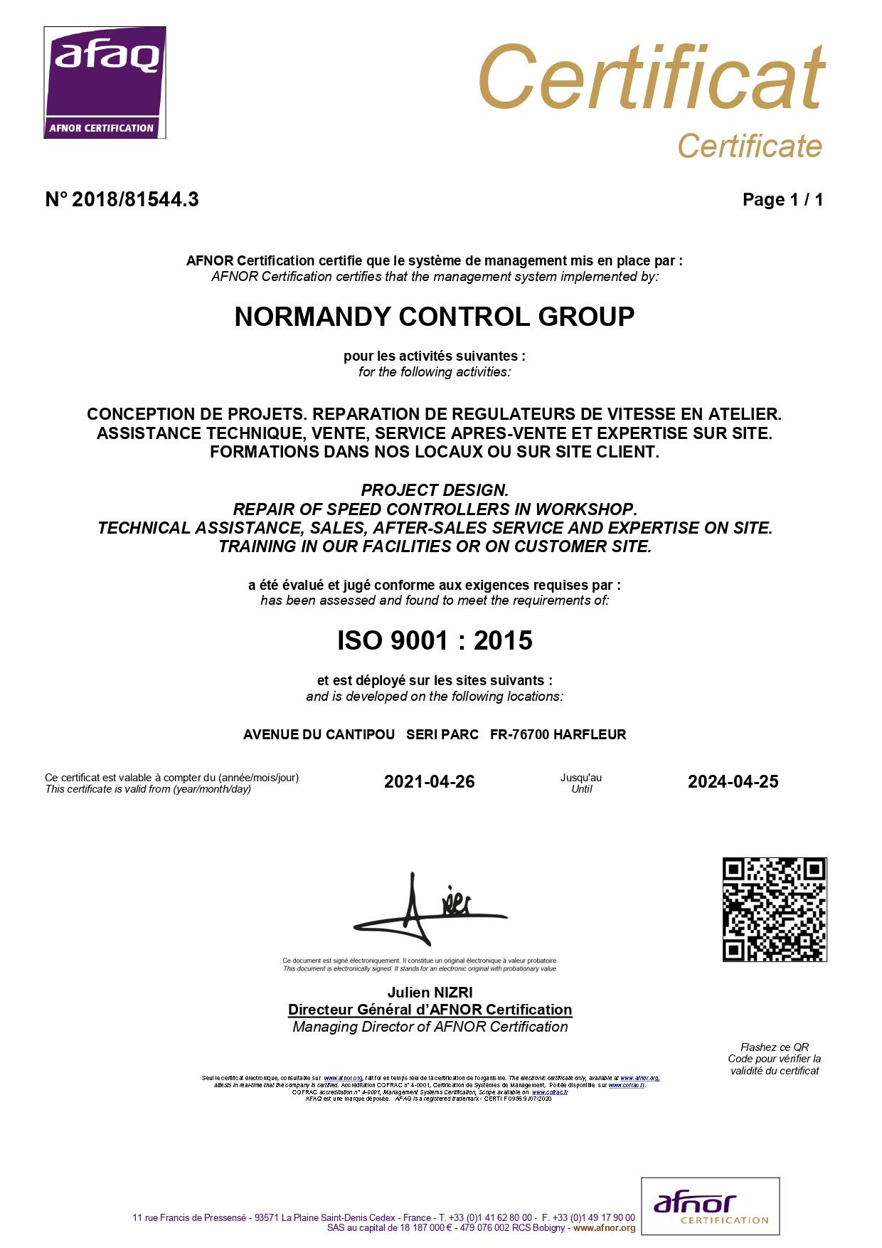 ISO 9001 AFNOR